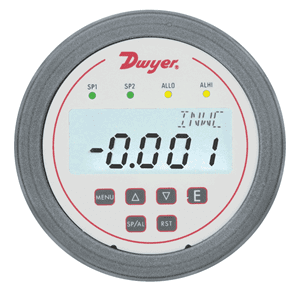 Picture of Dwyer differential pressure transmitter with flow calculation and alarms series DH3