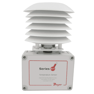 Picture of Dwyer temperature transmitter with radiation shield series BTT-R